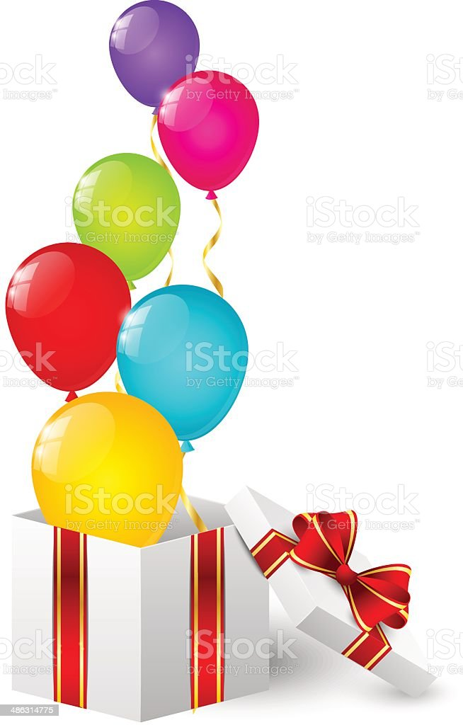 Gift box with color balloons royalty-free stock vector art
