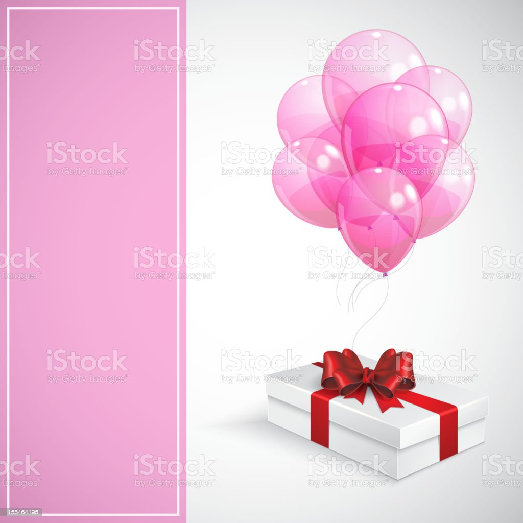 gift box with red bow and bunch of pink balloons royalty-free stock vector art