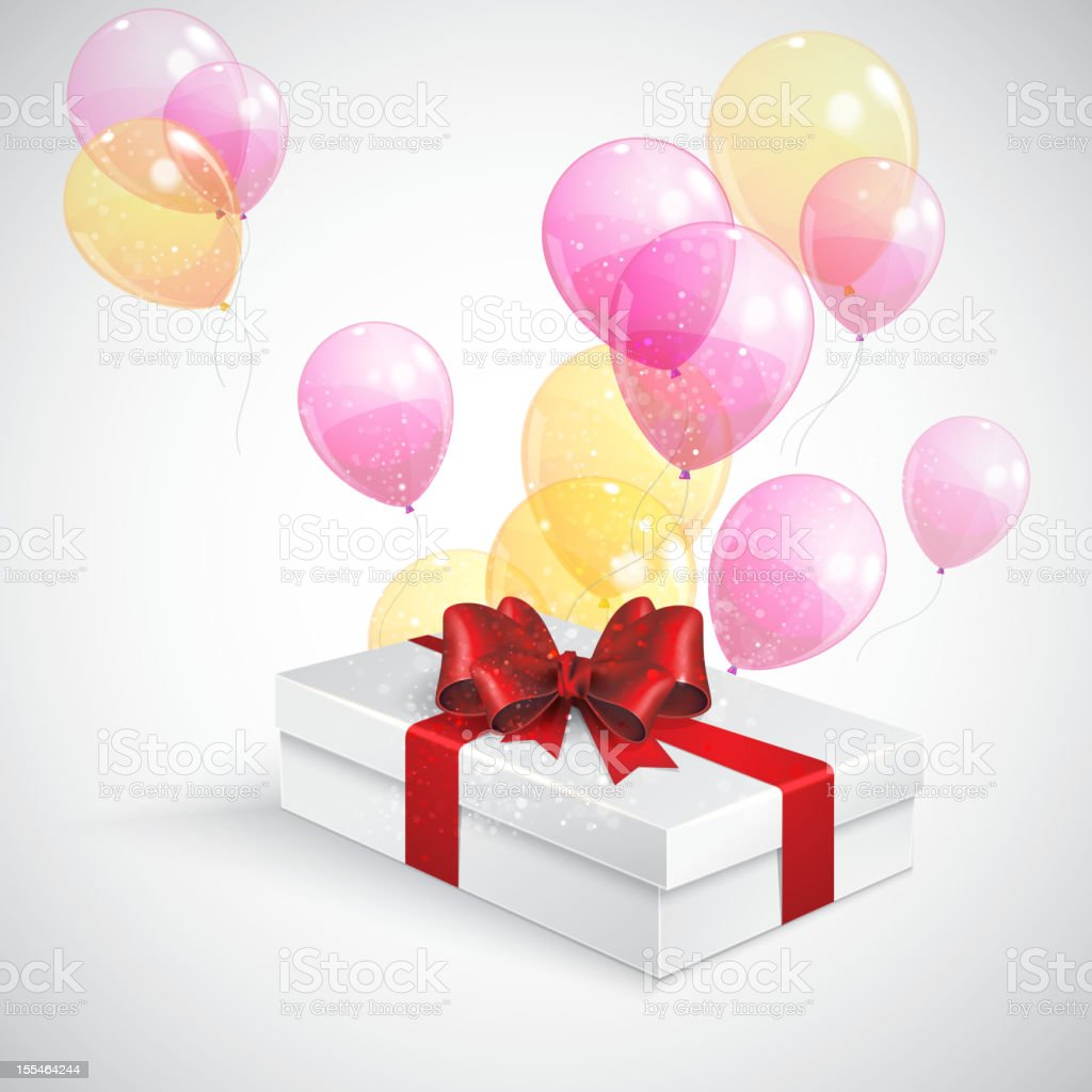 gift box with red bow and flying  transparent balloons royalty-free stock vector art