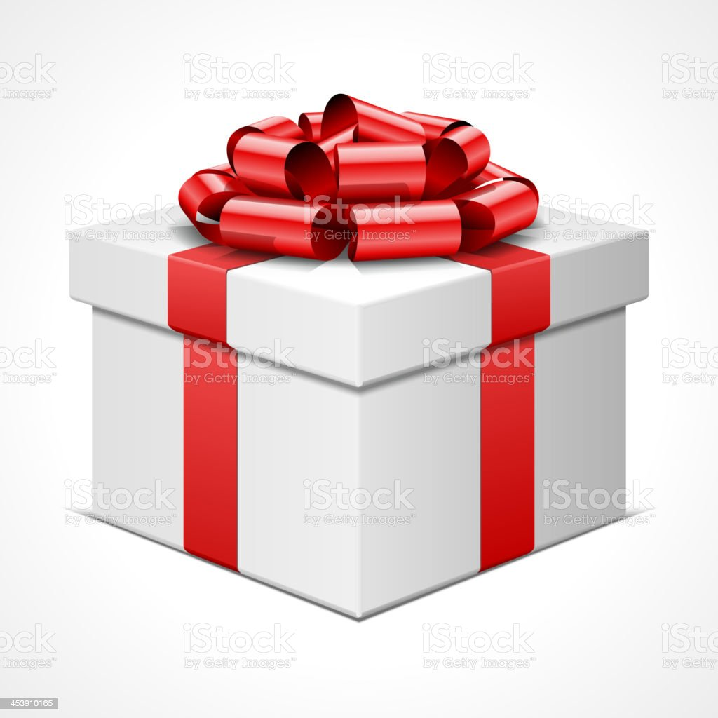 Gift box with red bow isolated on white vector art illustration