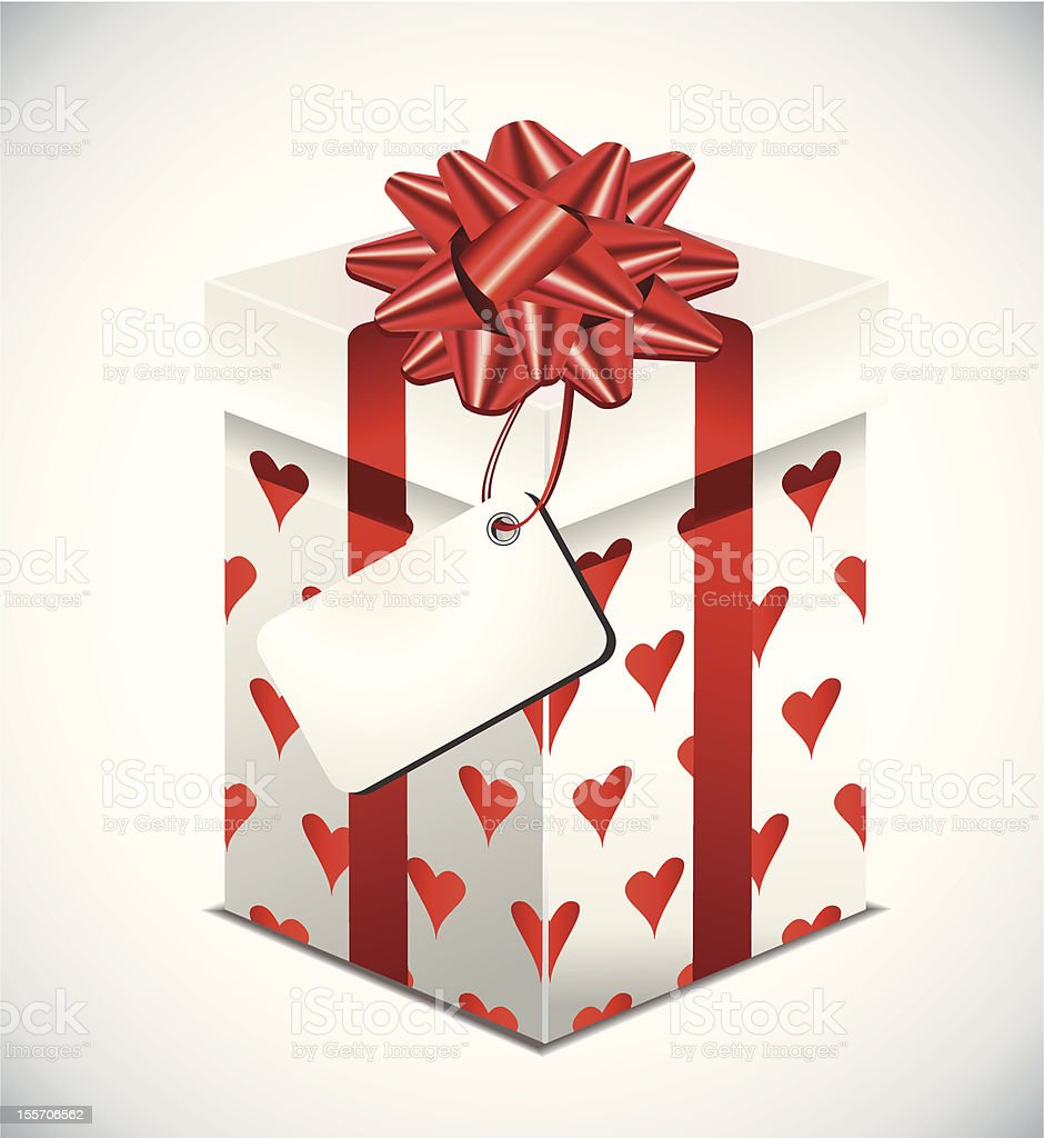Gift box with red bow royalty-free stock vector art