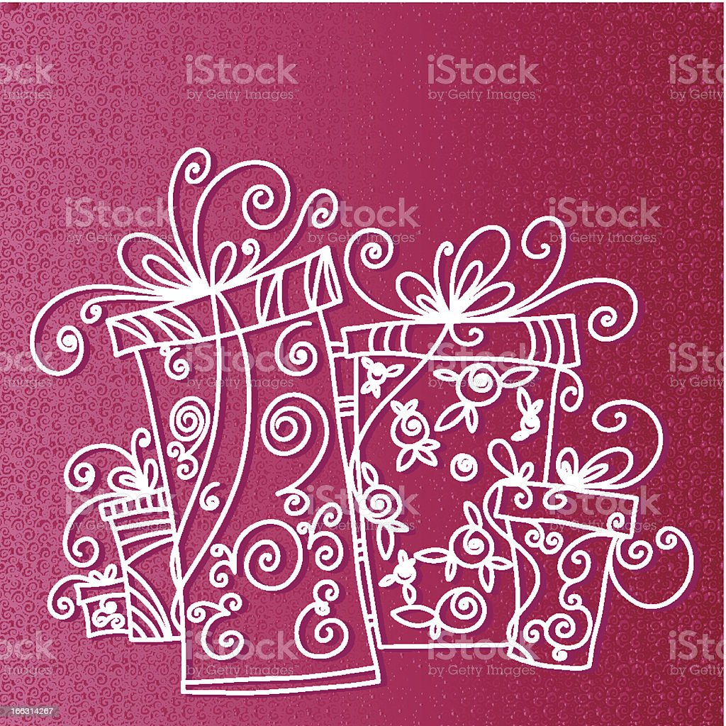 Gift boxes background with space for text royalty-free stock vector art