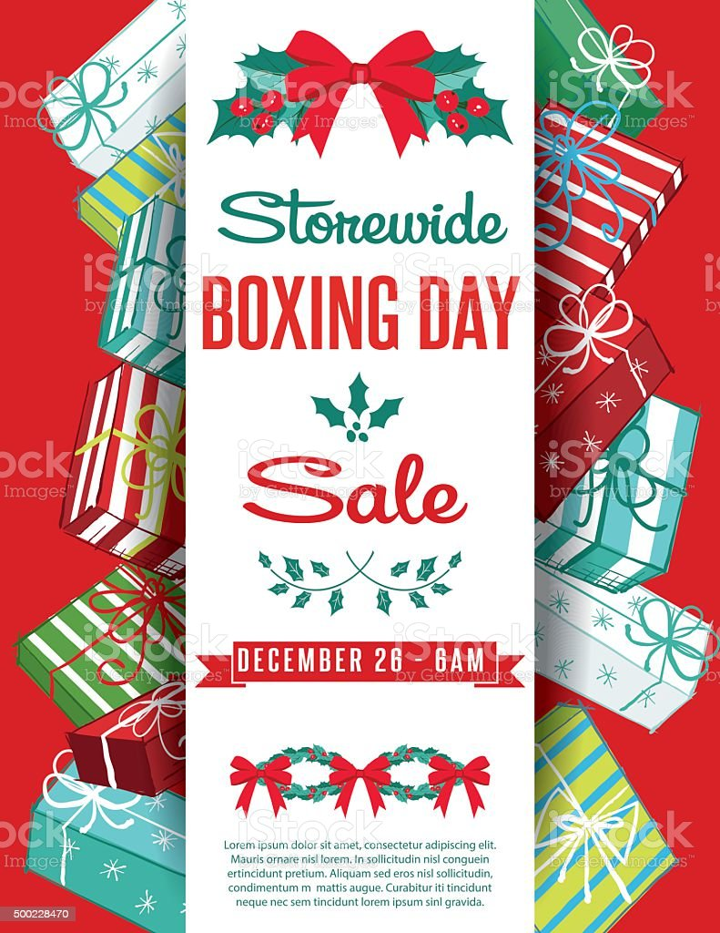 Gift Boxes Christmas Sale Ad Template vector art illustration