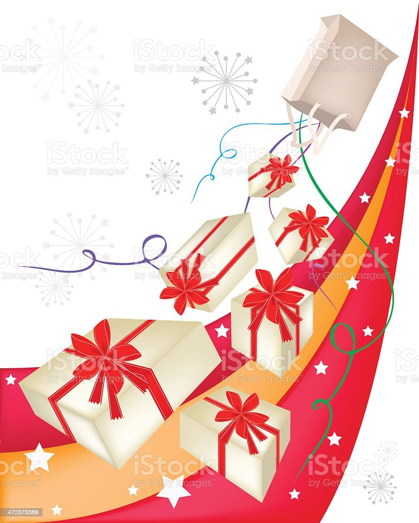 Gift Boxes with Red Ribbon on Beautiful Background royalty-free stock vector art