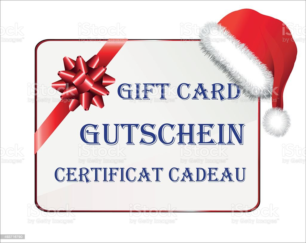 Gift card for Christmas in German, English and French vector art illustration