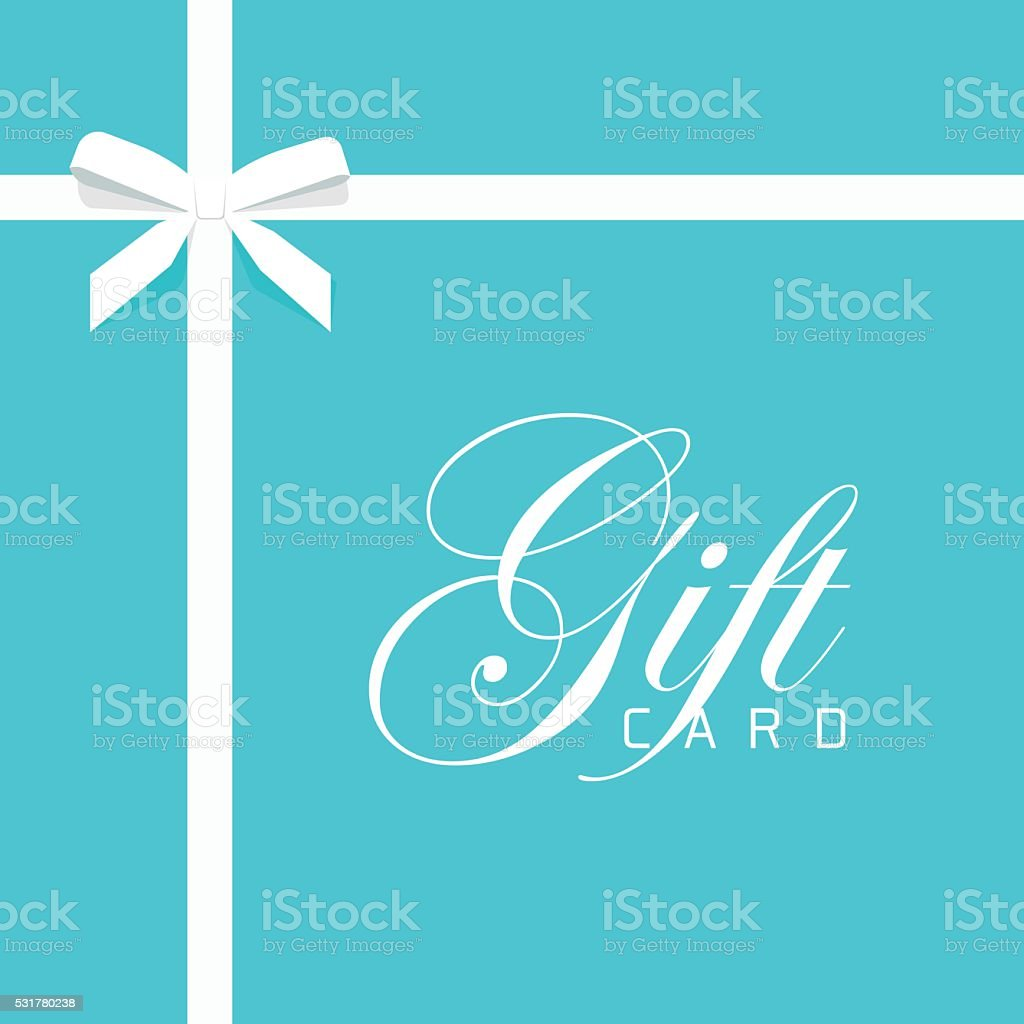 Gift card vector illustration on blue, bow with white ribbon vector art illustration