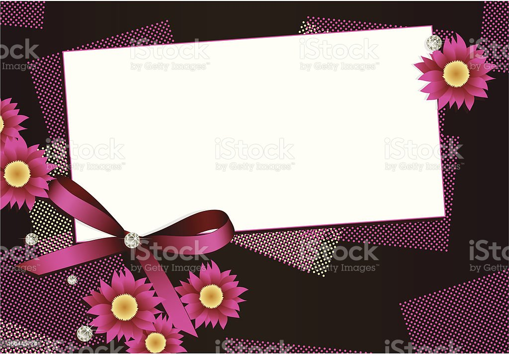 Gift card with flowers,diamonds and ribbon royalty-free stock vector art