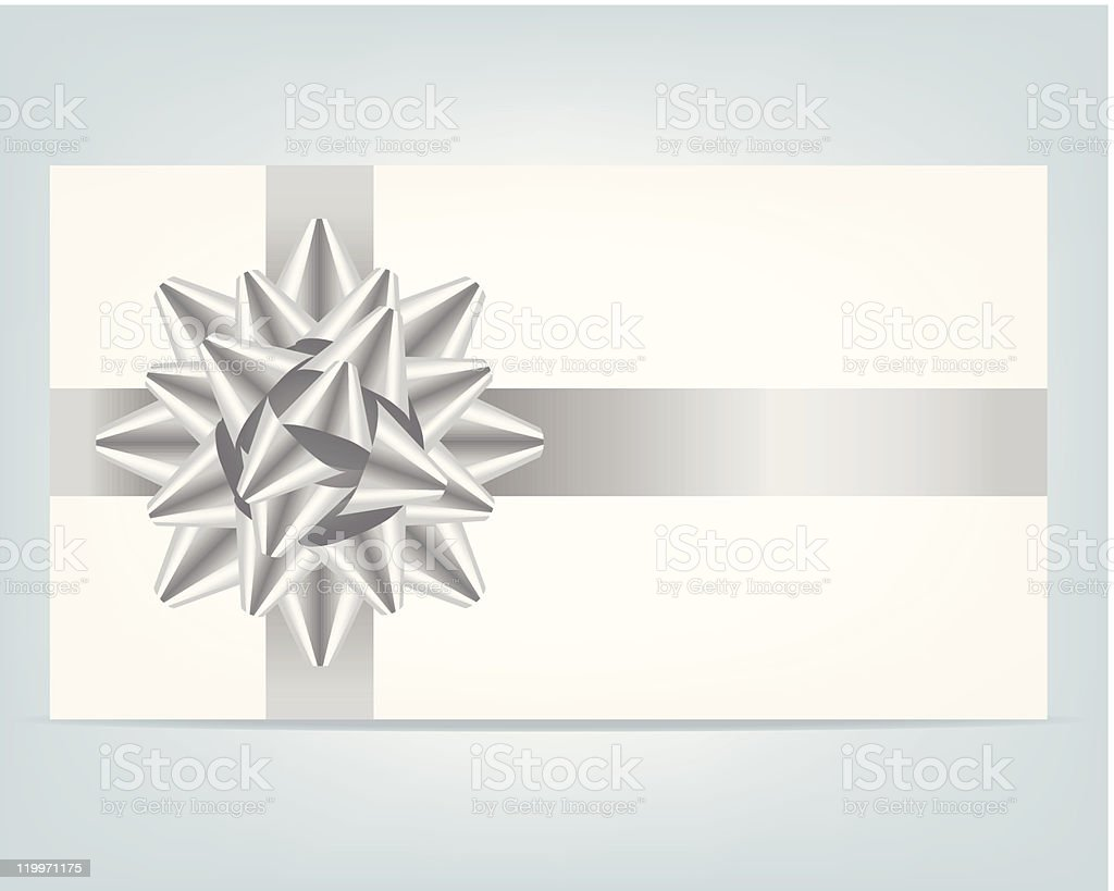 Gift card with silver ribbon. vector art illustration