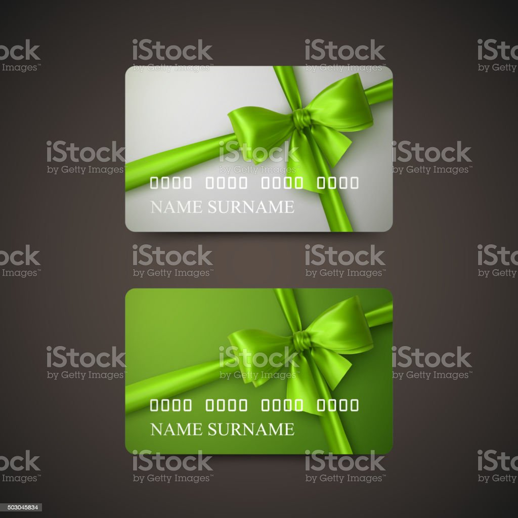 Gift Cards With Green Bow And Ribbon. vector art illustration