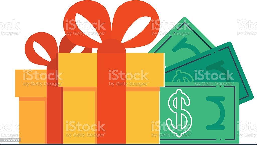 Gift certificate, bonus money vector art illustration