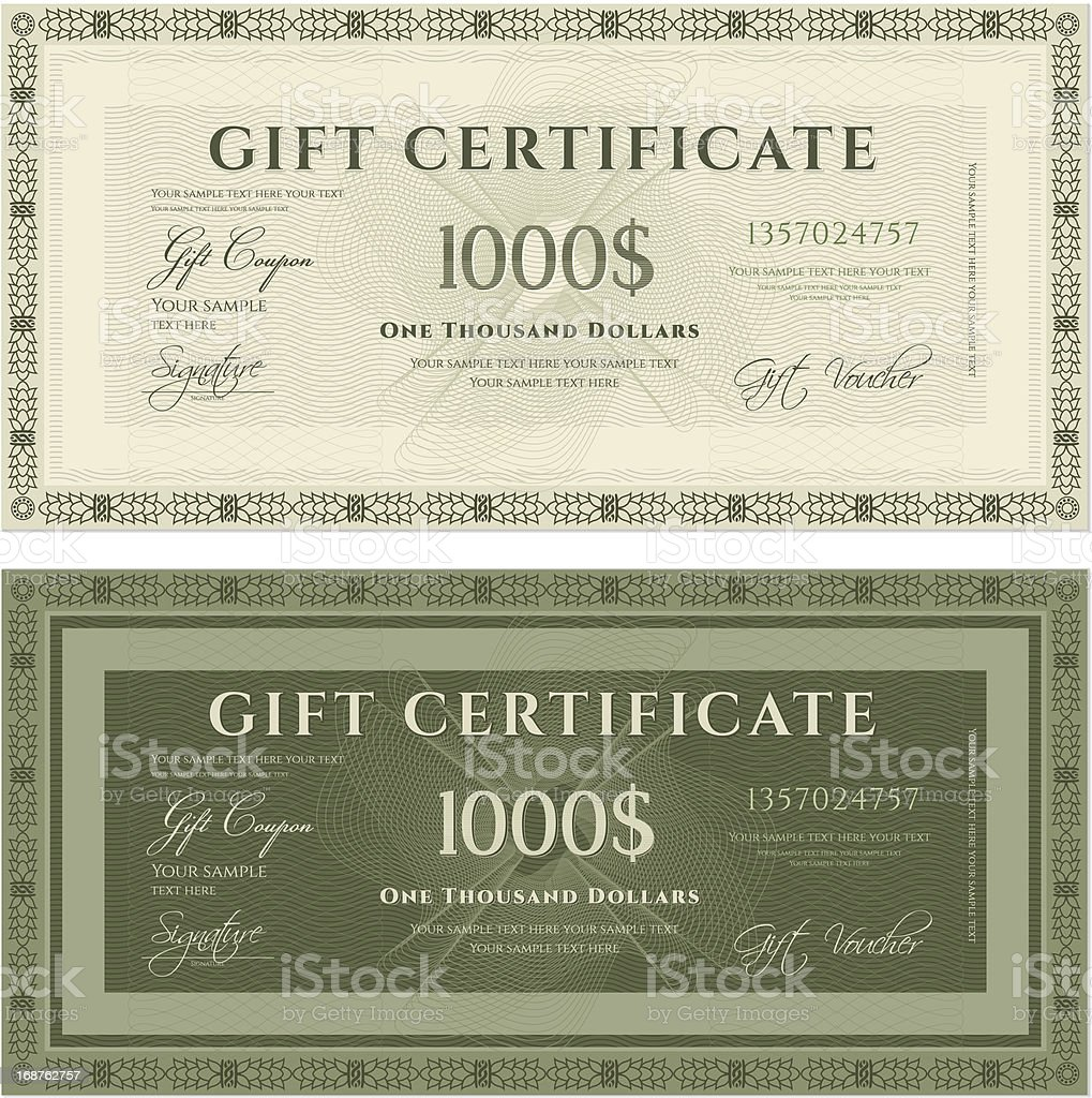 Gift certificate (voucher / coupon) guilloche pattern (banknote, money, currency, check) royalty-free stock vector art