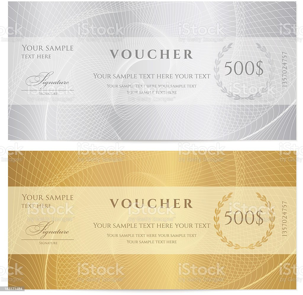 Gift certificate (voucher / coupon) guilloche pattern (banknote, money, currency, check) vector art illustration