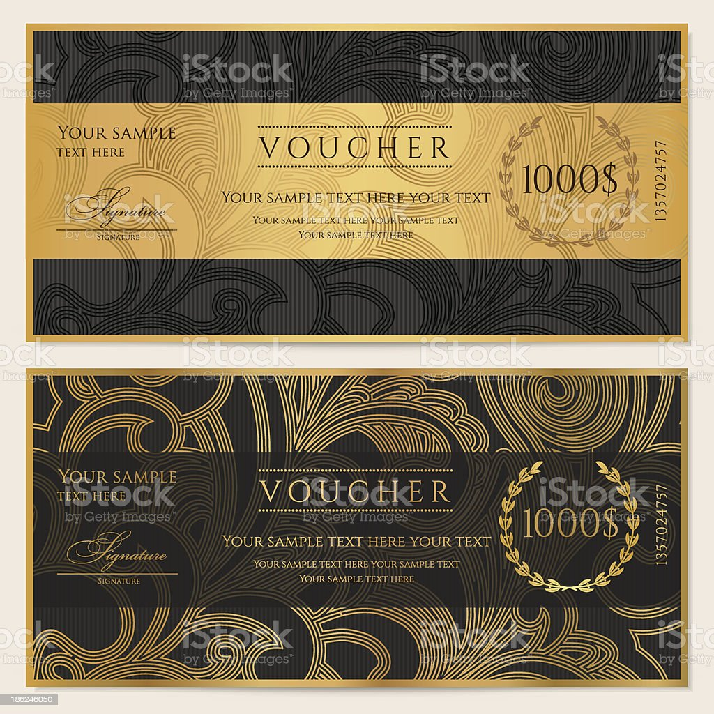 Gift certificate (voucher / coupon) pattern (ticket, banknote, money, currency, check) vector art illustration
