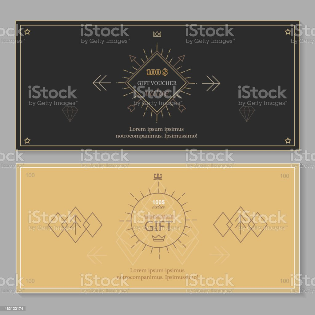 gift certificate voucher coupon template line art hipster gift certificate voucher coupon template line art hipster design royalty stock vector