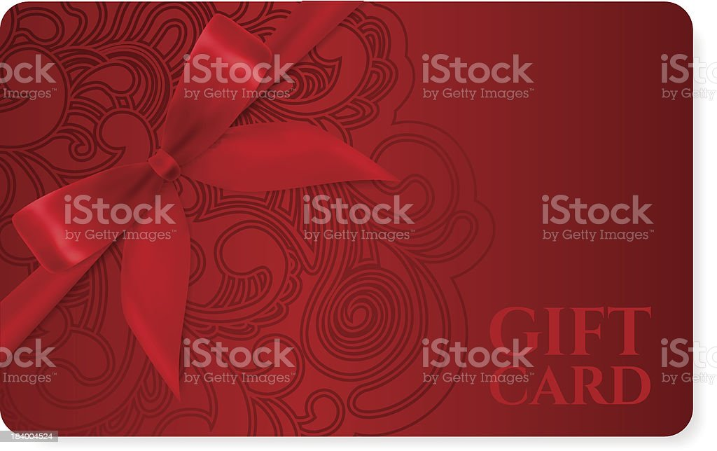 Gift coupon, discount card, ticket. Filigree pattern (scroll) red bow vector art illustration