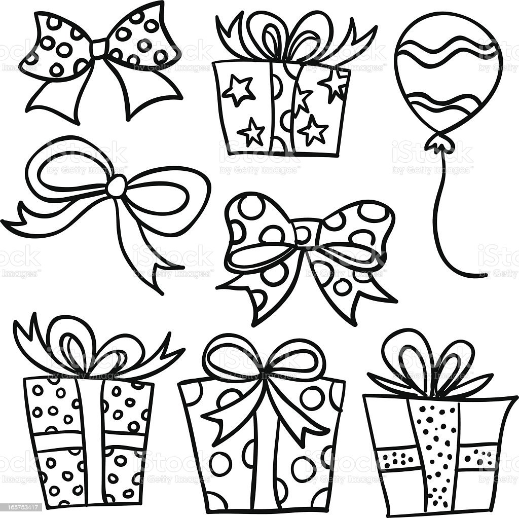 Gift decor collection in Black and White vector art illustration