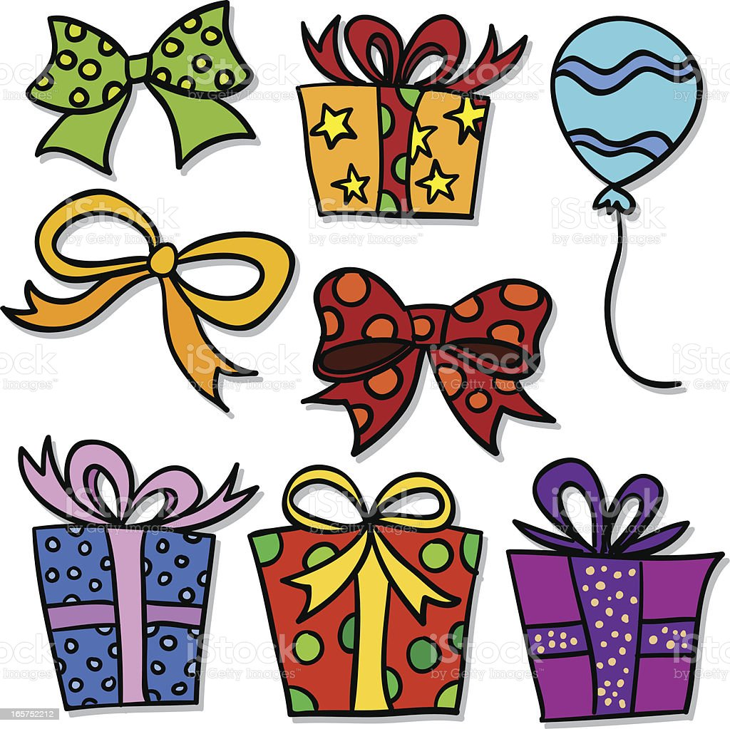 Gift decor collection in colour vector art illustration
