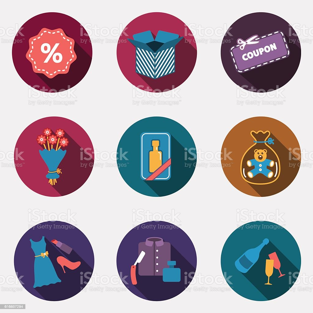 Gift flat circle colorful shop icons with shadow vector art illustration