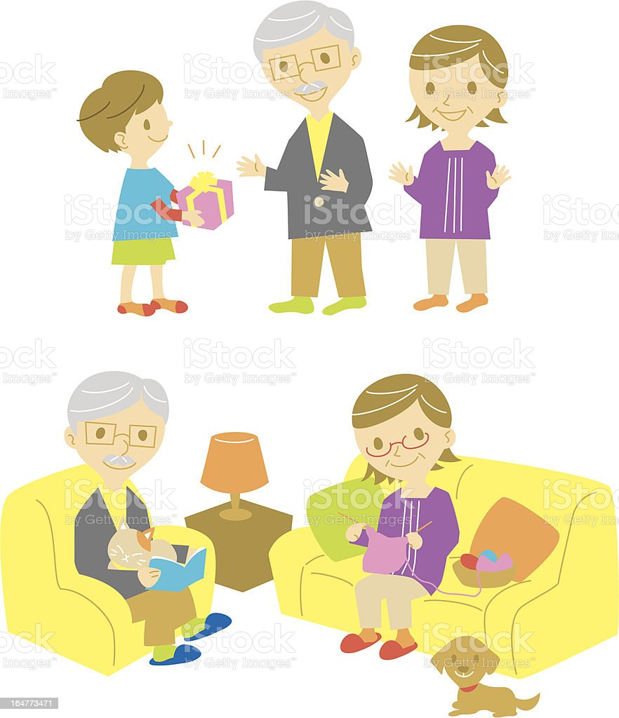 gift for his grand parents,old couple on sofa royalty-free stock vector art