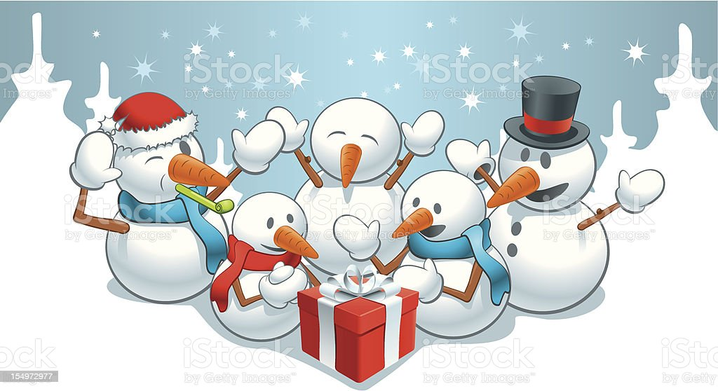 Gift for snowmens royalty-free stock vector art