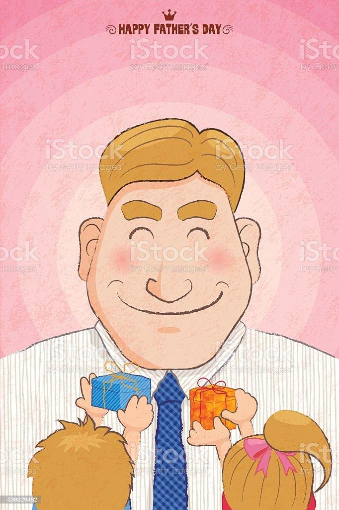 Gift from his children vector art illustration