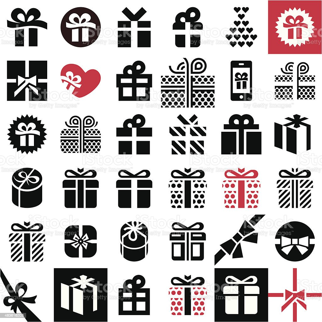 Gift icon set. Gift box. vector art illustration