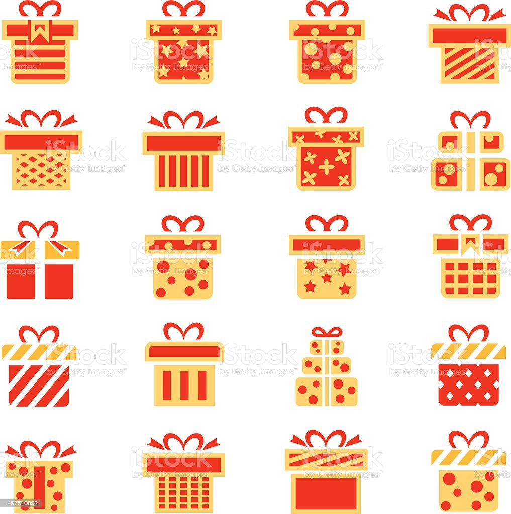 Gift icon set vector art illustration