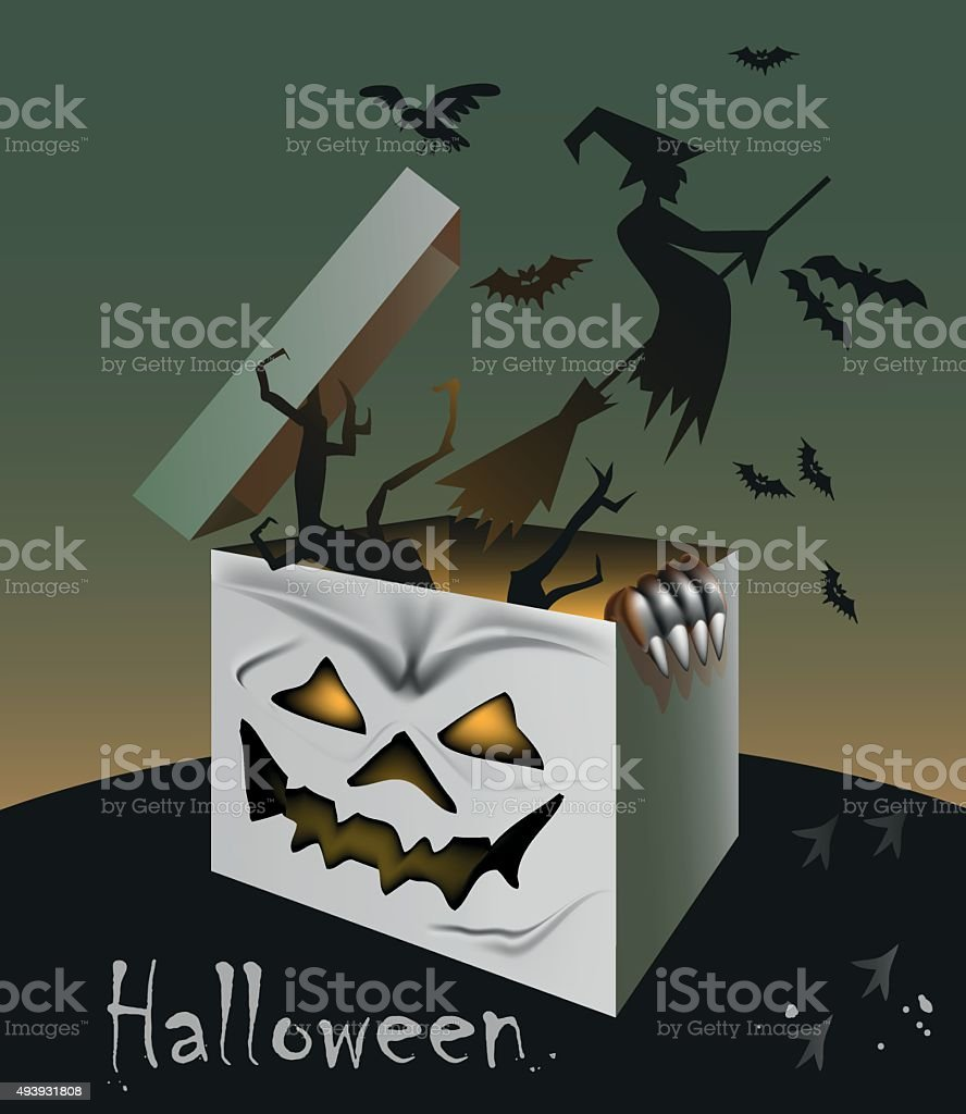 gift on Halloween vector art illustration