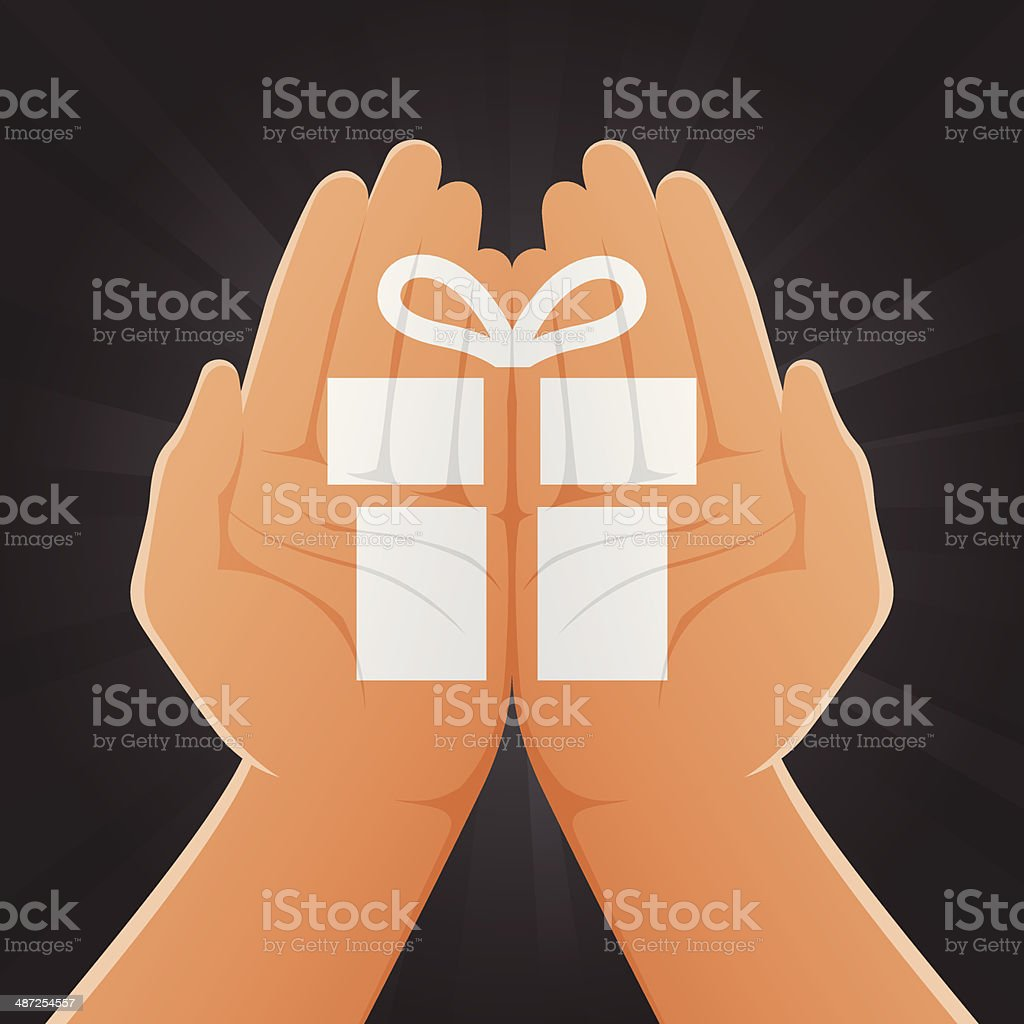 Gift Painted on Hands royalty-free stock vector art