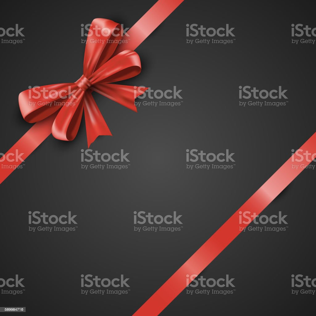 Gift realistic red bow and ribbons tilted on a black vector art illustration