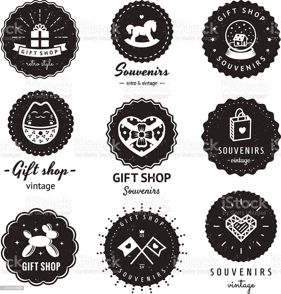 Gift shop and souvenirs logo-badges vintage vector set. Hipster design vector art illustration