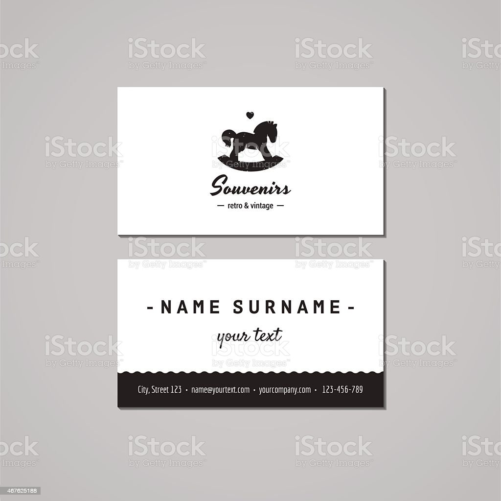 Gift shop business card design concept. Logo with rocking horse vector art illustration