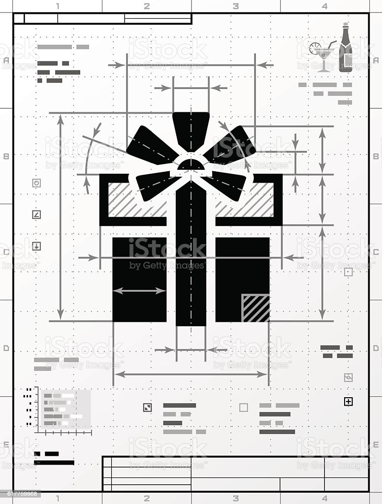 Gift symbol as technical drawing vector art illustration