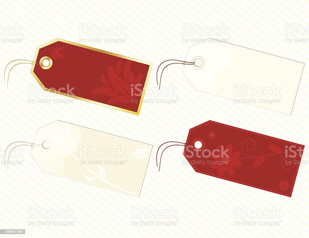 Tags und Labels-GEBLÜMT, Rot, Gold, Braun, mit Hintergrund Lizenzfreies vektor illustration