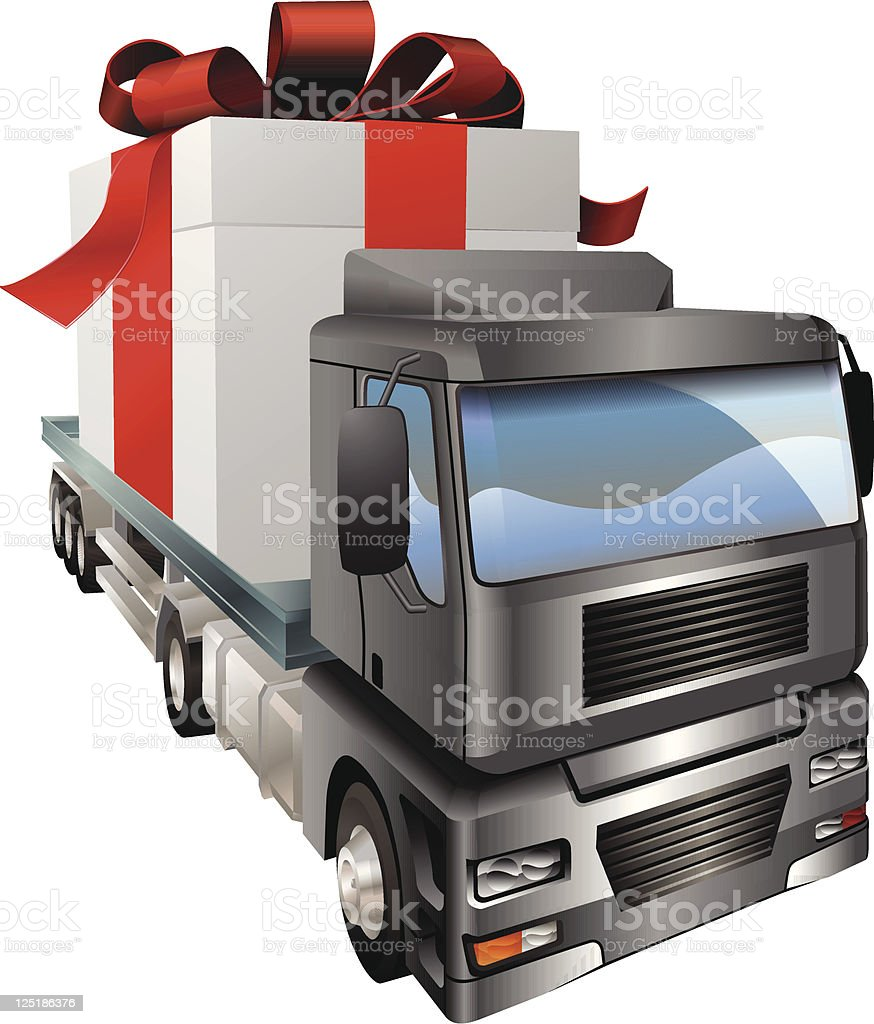 Gift truck concept vector art illustration