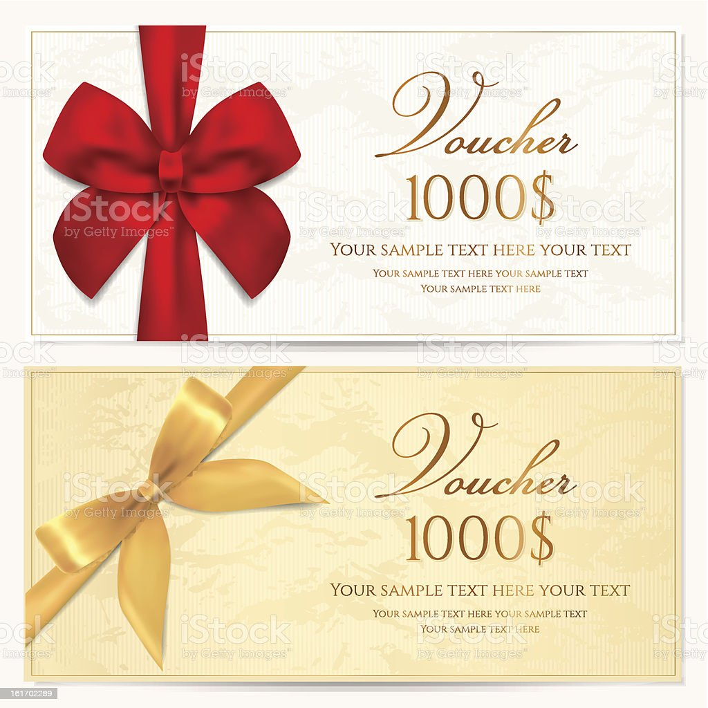 Gift Voucher / coupon / card/ tag / certificate template. Gold bow (ribbons) royalty-free stock vector art