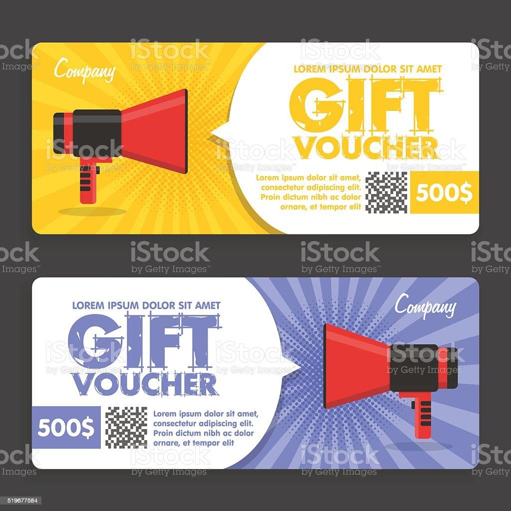 Gift Voucher. Flat Design. Announcement vector art illustration