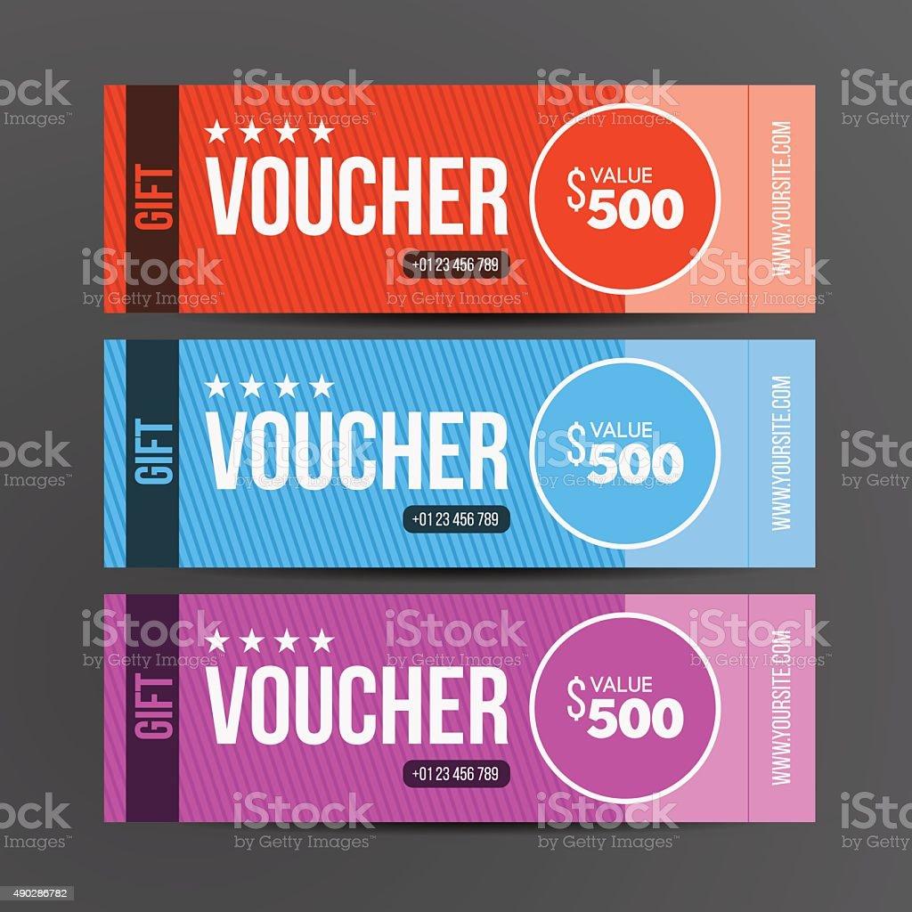 Gift voucher template. Coupon design. Vector illustration. vector art illustration