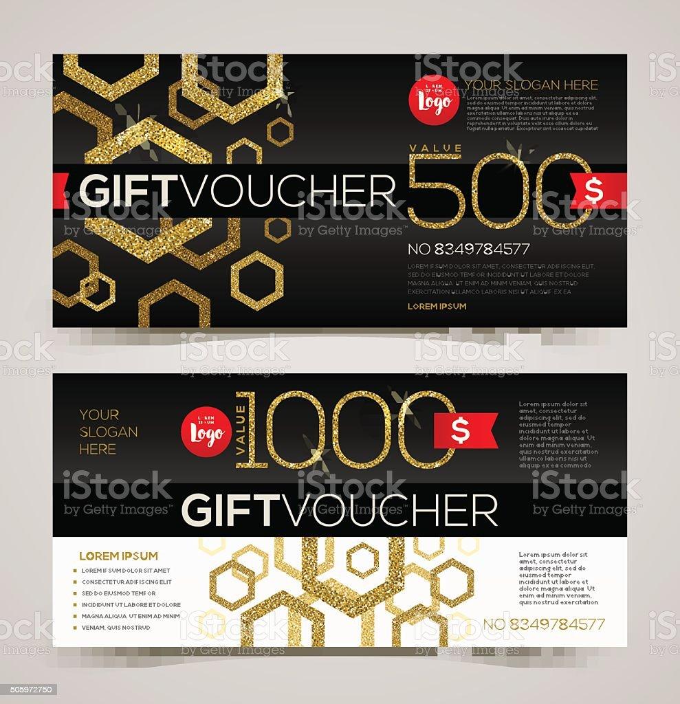 Gift voucher template design with glitter gold vector art illustration