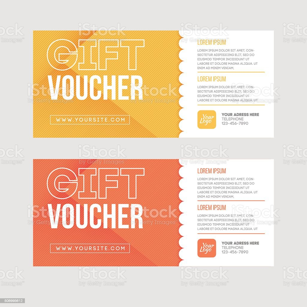 Gift voucher template set. Two gift cards design. vector art illustration
