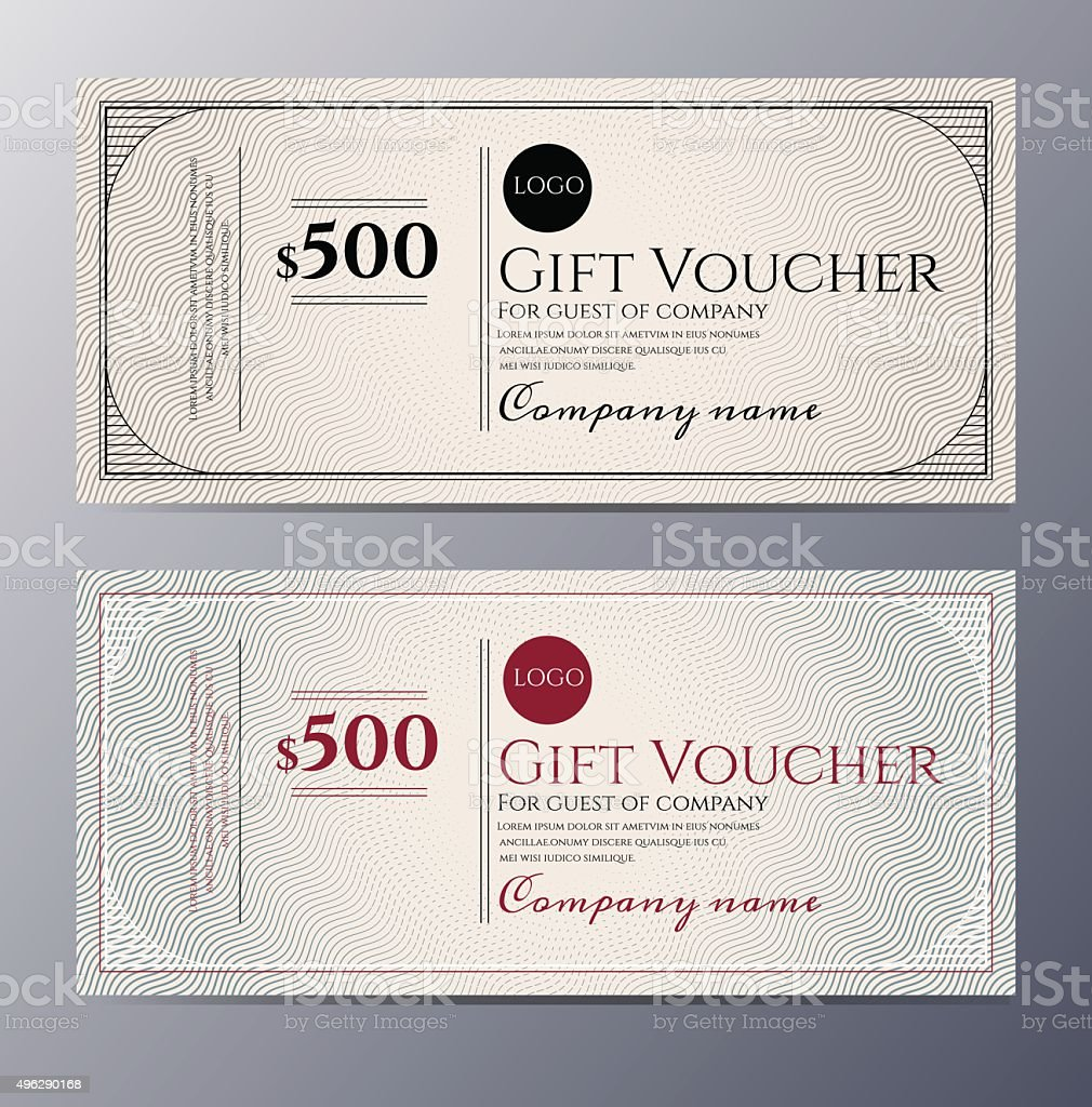 Gift voucher template with colorful pattern vector art illustration