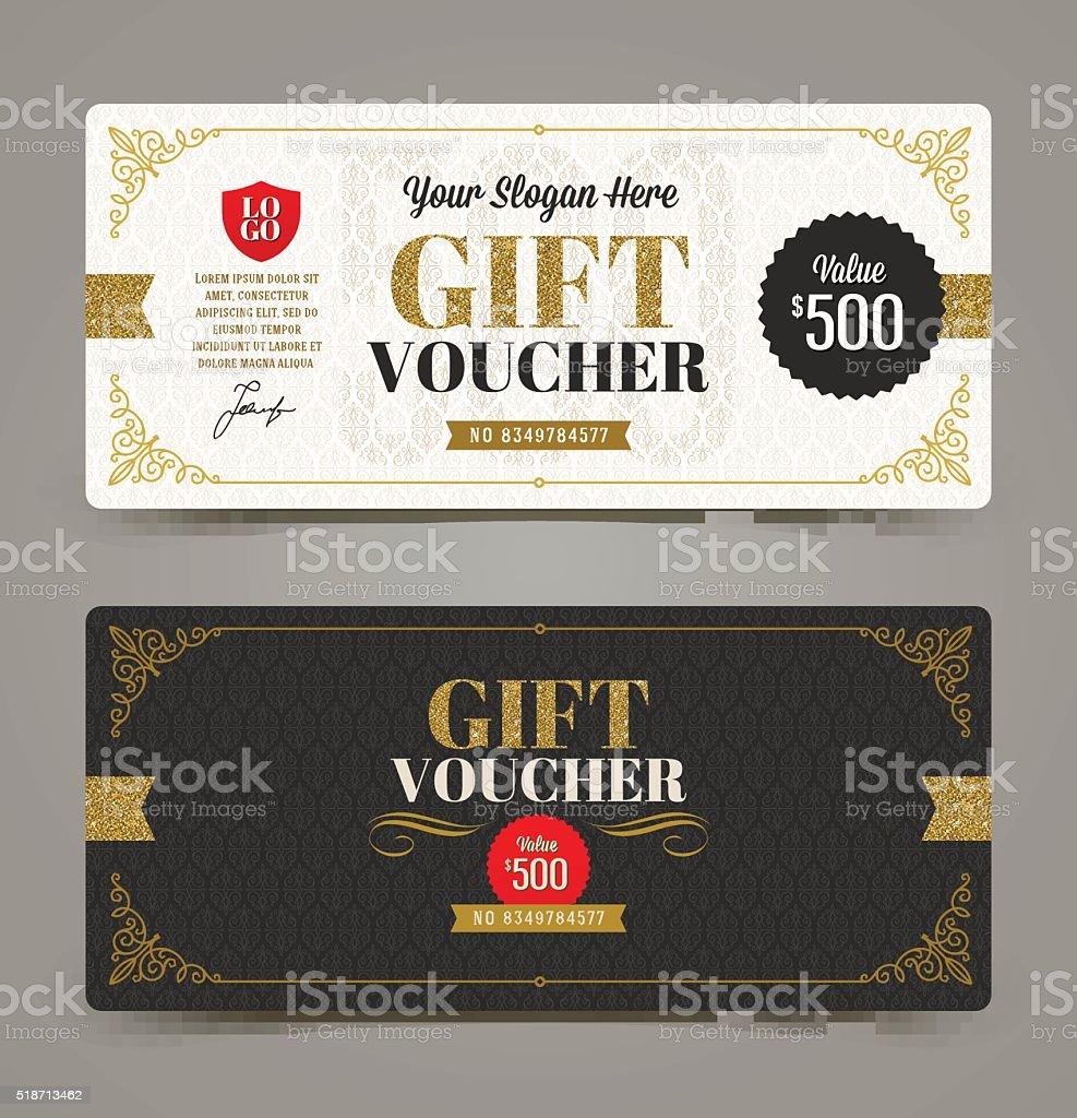 Gift voucher template with glitter gold, Vector illustration. vector art illustration