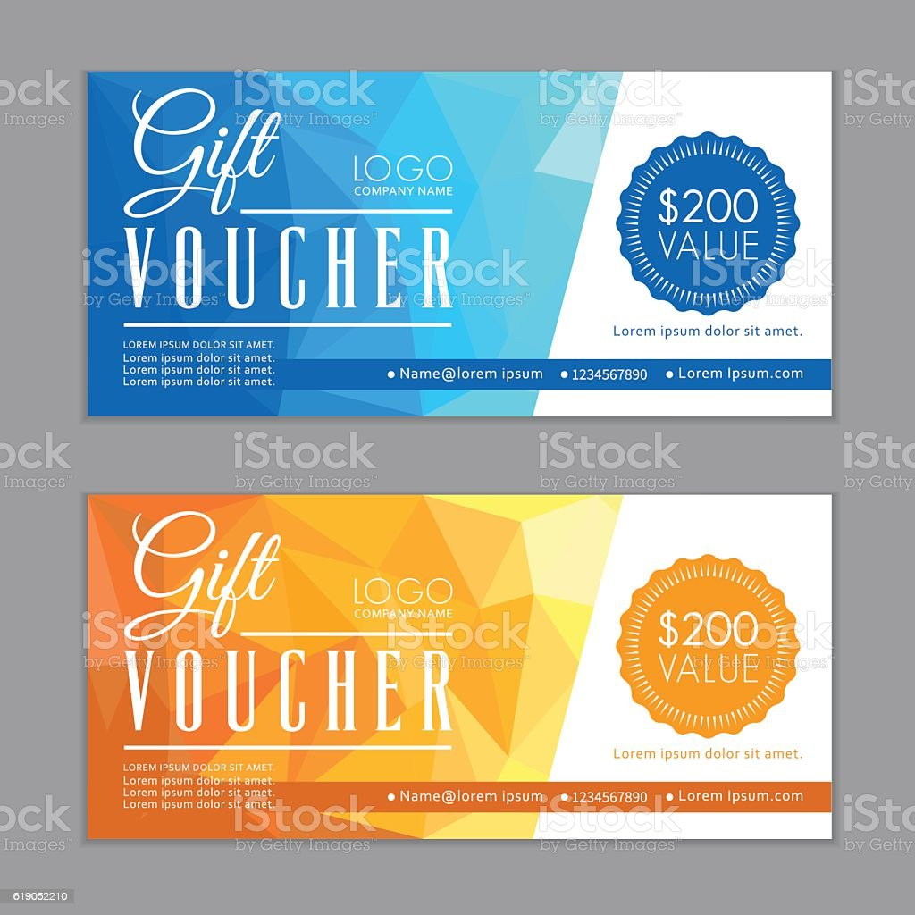 Gift Vouchers Template. Bleed Size in in proportion 214x99 mm. vector art illustration