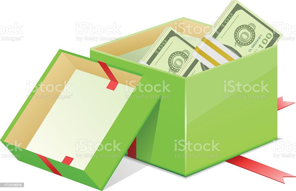 Giftbox and Currency vector art illustration