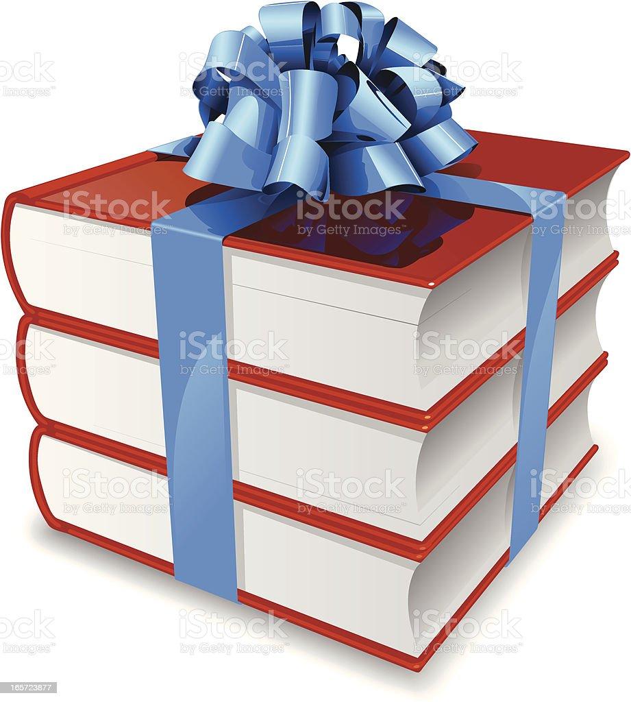 Gifting books vector art illustration