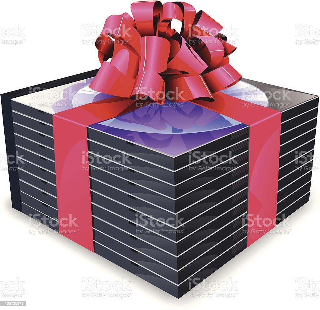 Gifting DVDs vector art illustration
