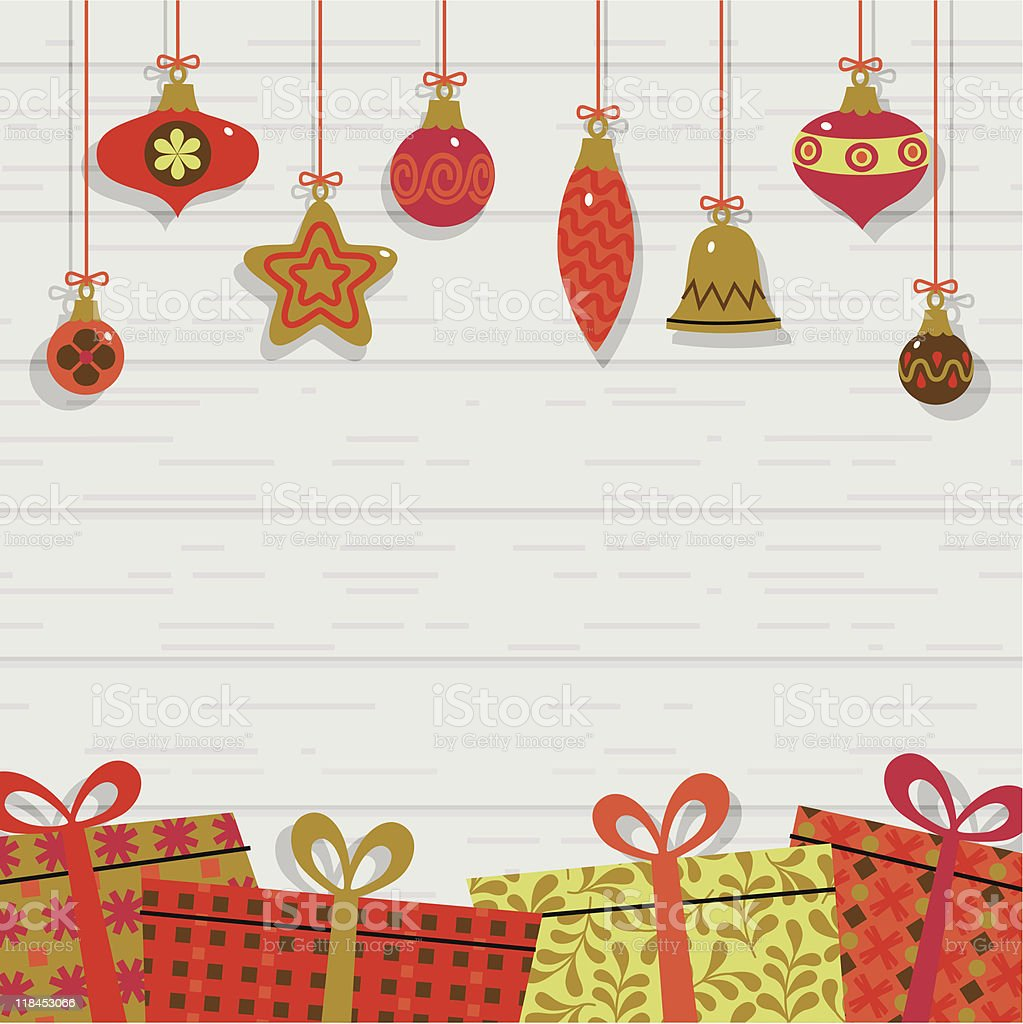 Gifts and Christmas decoration. vector art illustration