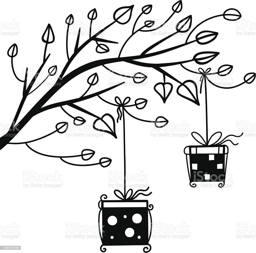 Gifts on the tree black silhouette of a cartoon illustration royalty-free stock vector art