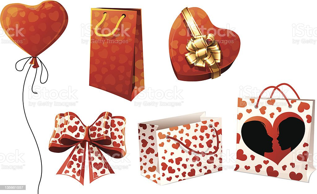 Gifts, packages and bows royalty-free stock vector art