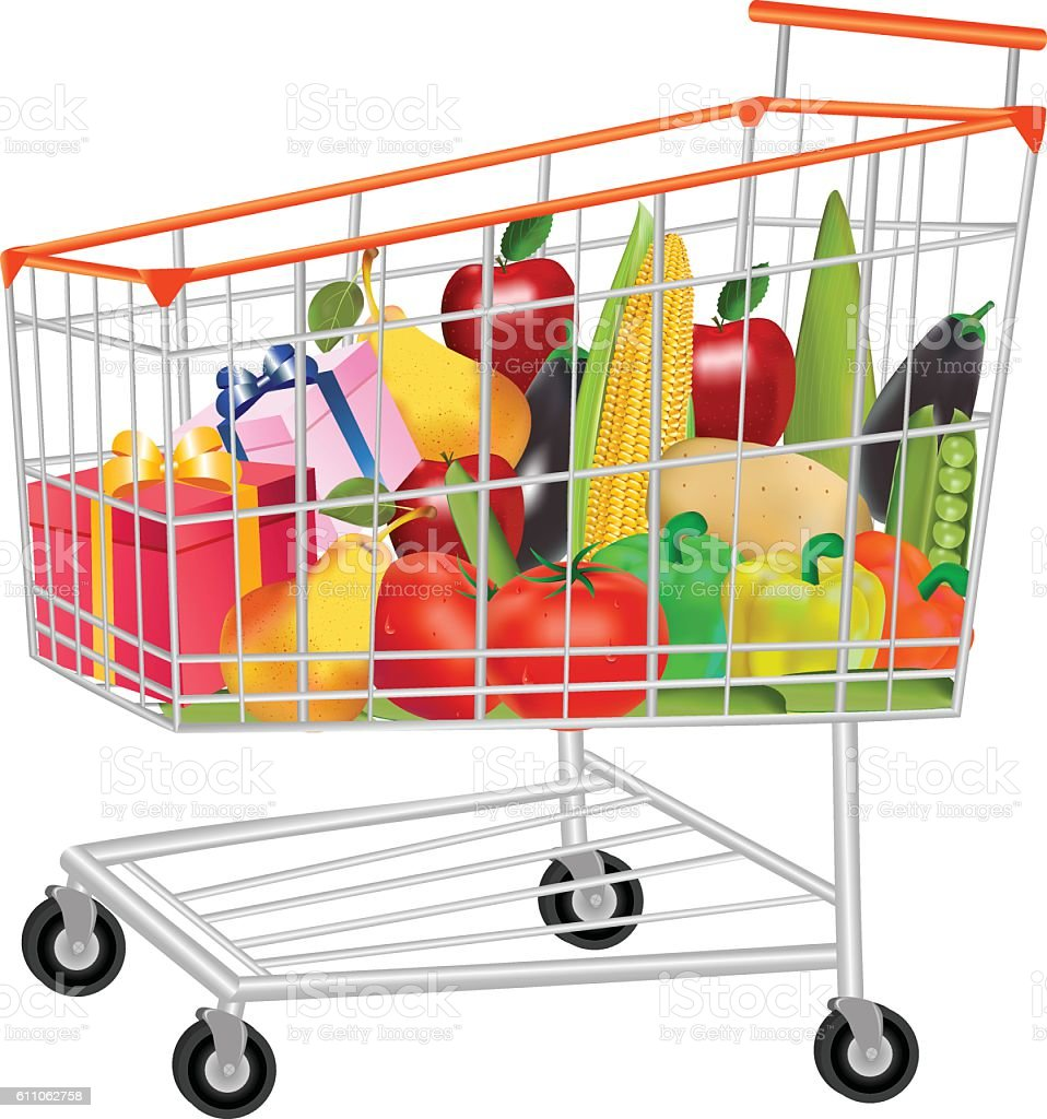 Gifts Vegetables And Fruits In Shopping Trolley vector art illustration